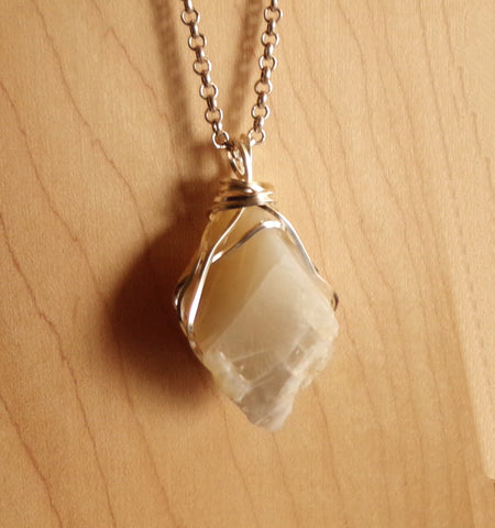 Natural Ivory Moonstone Wire Wrapped Gemstone Pendant Necklace