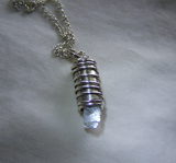Moonstone Crystal Wire Wrapped Silver Bullet Jewelry Pendant