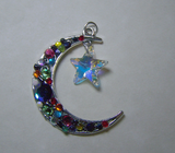 Swarovski Crystal Silver Filigree Moon and Star Pendant