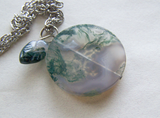 Moss Agate Mandala Disc Earth Element Pendant