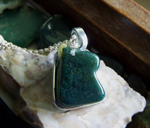 Natural Moss Agate Wire Wrapped Polished Gemstone Pendant