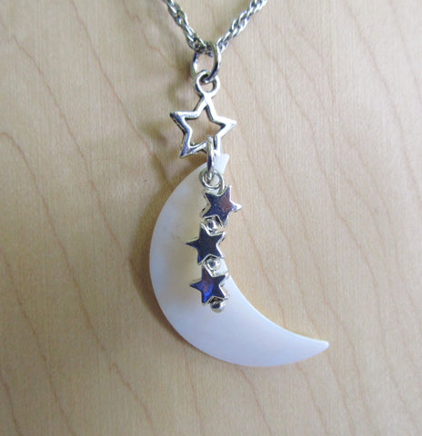 Mother of Pearl Natural Crescent Moon Silver Stars Pendant Necklace