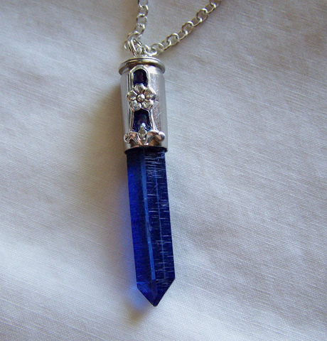 Royal Blue Quartz Forget Me Not Silver Bullet Pendant