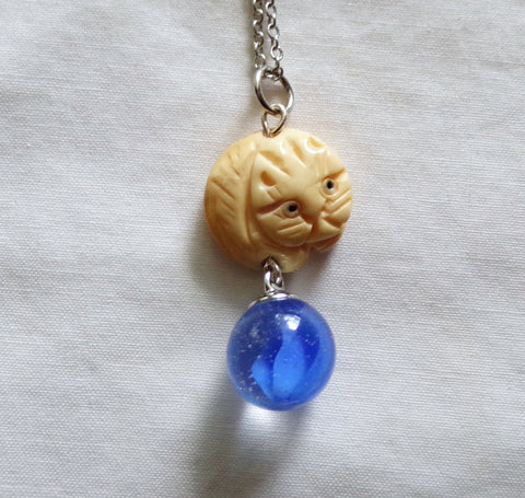 Netsuke Cat Carved Bead with Blue Cat's Eye Marble Pendant Necklace