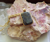 Greenland Nuummite Ancient Gemstone Pendant Necklace