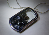 Greenland Nuummite Gemstones Glass Locket Necklace Pendant