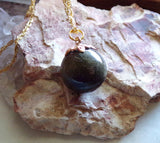 Golden Sheen Black Obsidian Natural Crystal Ball Pendant Necklace