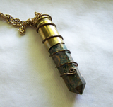 Rainforest Jasper Wire Wrapped Bullet Jewelry Pendant