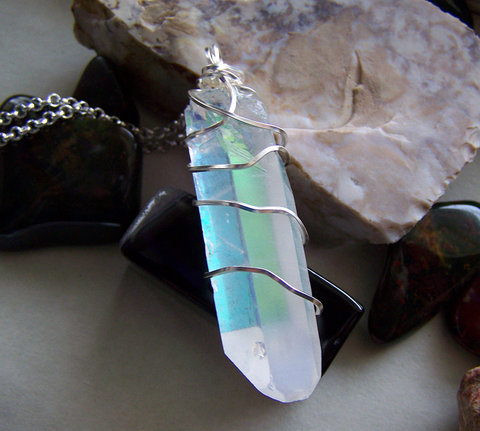 Opal Aura Large Quartz Crystal Point Wire Wrapped Pendant