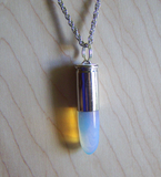 Opalite Iridescent Crystal Silver Bullet Jewelry Pendant Necklace