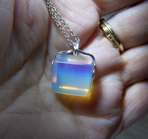Opalite Iridescent Crystal Cube Pendant