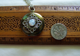 Vintage Brass Locket Silver Filigree Opal Locket Pendant
