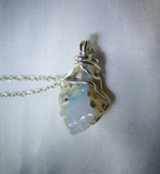 Natural Raw Welo Opal Gemstone Wire Wrapped Crystal Pendant