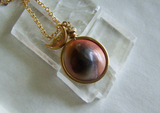 Evil Eye Natural Operculum Seashell Pendant Necklace