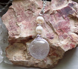 Natural Quartz Crystal Ball Freshwater Pearl Pendant Necklace
