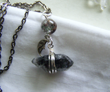 Black Phantom Quartz Silver Moon Lodolite Pendant Necklace
