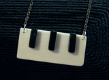 Black and White Vintage Piano Keys Jewelry Pendant