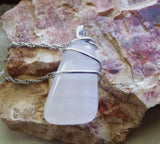 Pink Calcite Natural Gemstone Crystal Wire Wrapped Pendant Necklace