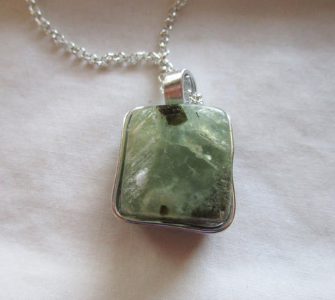 Natural Green Prehnite Crystal Cube Wire Wrapped Pendant Necklace