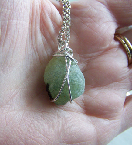 Natural Green Prehnite Wire Wrapped Pendant Necklace