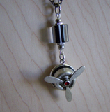 Vintage Silver Propeller Steampunk Jewelry Pendant Necklace