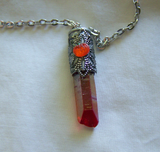 Autumn Orange Aura Quartz Filigree Pumpkin Bullet Jewelry Pendant