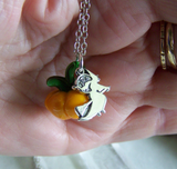 Orange Glass Pumpkin Sterling Silver Broom Riding Witch Pendant