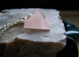 Rose Quartz Gemstone Pyramid Pendant