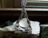Silver Pyramid Quartz Crystal Ball Jewelry Pendant
