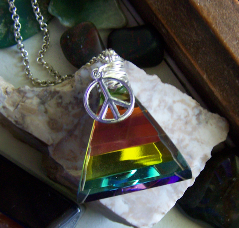 Vintage Rainbow Prism Pyramid Peace Necklace Pendant