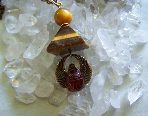 Tiger's Eye Pyramid Carnelian Scarab Egyptian Pendant