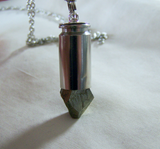Geometric Gold Pyrite Silver Bullet Jewelry Pendant