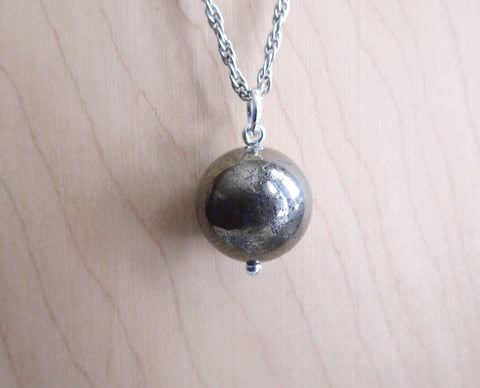 Gold Pyrite Natural Crystal Ball Pendant Necklace