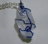 Quartz Point with Blue and Purple Fluorite Wire Wrapped Crystal Pendant