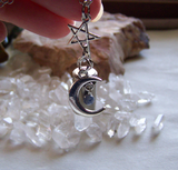 Celestial Quartz Crystal Moon and Star Silver Bullet Pendant