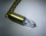 Natural Quartz Crystal Bullet Jewelry Pendant