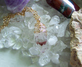 Red Phantom Lepidochrosite Quartz Blood Crystal Pendant Necklace