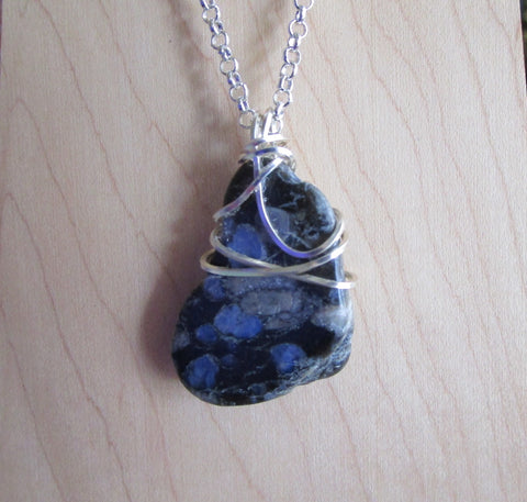 Que Sera Natural Llanite Stone Crystal Wire Wrapped Pendant Necklace