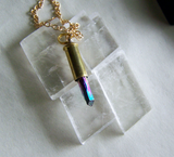 Rainbow Aura Quartz Mystic Crystal Bullet Necklace