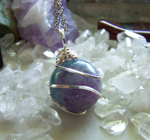 Rainbow Fluorite Wire Wrapped Gemstone Crystal Ball Pendant Necklace