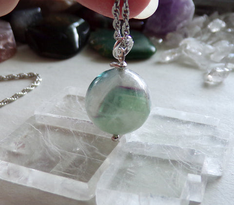 Rainbow Fluorite Multicolor Gemstone Crystal Ball Pendant Necklace