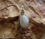 Natural Rainbow Moonstone Silver Wrapped Pendant Necklace