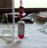 Red Crystal Fire Element Silver Bullet Jewelry Pendant