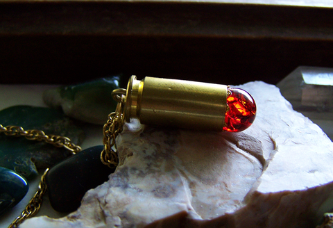 Vintage Red Crackle Glass Sphere Brass Bullet Pendant