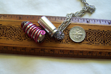 Ruby Red Glass Silver Bullet Capsule Pendant