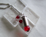 Red Crystal Hearts Silver Bullet Jewelry Pendant
