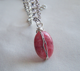 Rhodochrosite Polished Gemstone Wire Wrapped Pendant