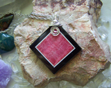 Rhodochrosite and Black Onxy Intarsia Gemstone Frame Pendant Necklace