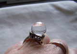 Natural Quartz Crystal Ball Sterling Silver Ring Size 7.5