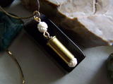 Ivory Rose Carved Bone Gold Bullet Jewelry Pendant